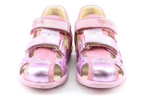 Босоножки Тотто из натуральной кожи с закрытым носом для девочек, цвет розовый металлик. Изображение 5 из 12.