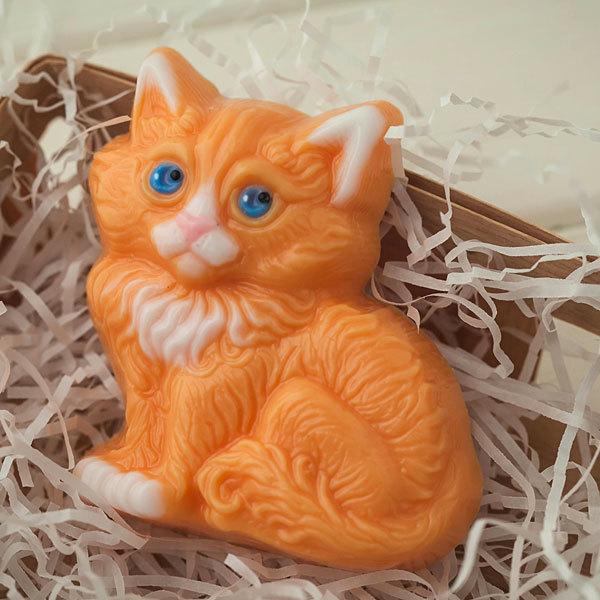 Пластиковая форма для мыла Сидящий котенок