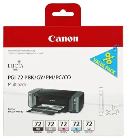 Картриджи Canon PGI-72 PBK/GY/PM/PC/CO для Canon PIXMA PRO-10. Комплект 5 картриджей