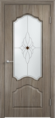 Дверь Верда Ирида, стекло Сатинато Ромб, цвет вишня малага, остекленная