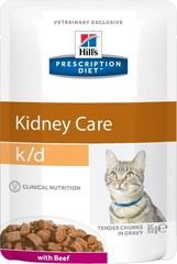 Ветеринарный корм для кошек при заболеваниях почек Hill`s Prescription Diet k/d с говядиной