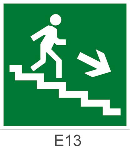 Направление движения эвакуации по лестнице вниз направо - знак эвакуационный Е13
