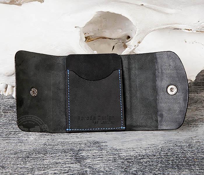 WB166-1 Мужской мини кошелек ручной работы из черной кожи фото 06
