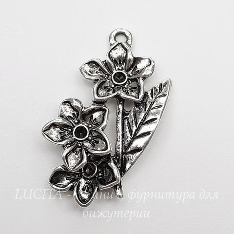 "Подвеска  ""Три цветочка"" (цвет - античное серебро) 37х27 мм"