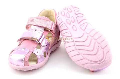 Босоножки Тотто из натуральной кожи с закрытым носом для девочек, цвет розовый металлик. Изображение 8 из 12.