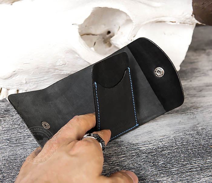 WB166-1 Мужской мини кошелек ручной работы из черной кожи фото 07