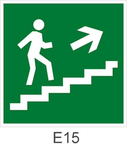 Направление эвакуации по лестнице вверх направо - знак эвакуационный Е15