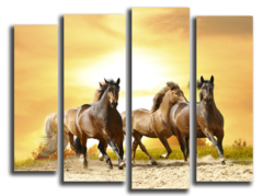 "Модульная картина ""Табун лошадей"""