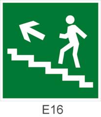Направление эвакуации по лестнице вверх налево - - знак эвакуационный Е16