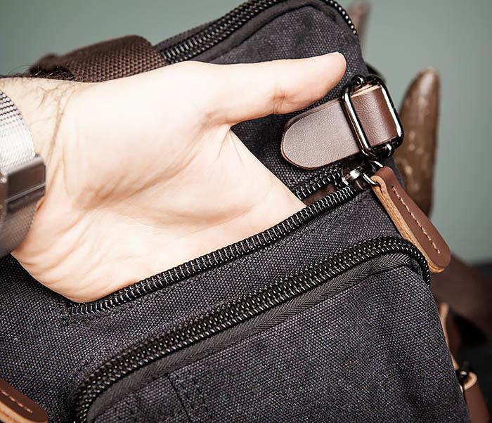 BAG475-1 Мужская сумка рюкзак «трансформер» из ткани фото 10
