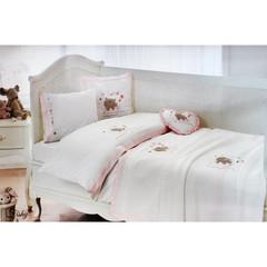 НАБОР ЯСЛИ Детское  постельное белье с пледом  FISHY BEBE розовый deluxe TIVOLYO HOME Турция