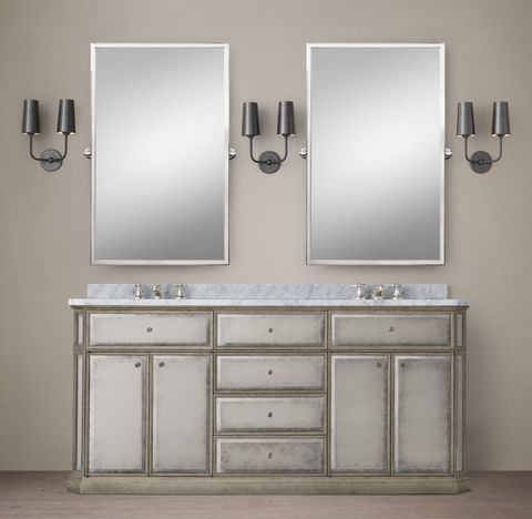 1930s French Mirrored Double Vanity