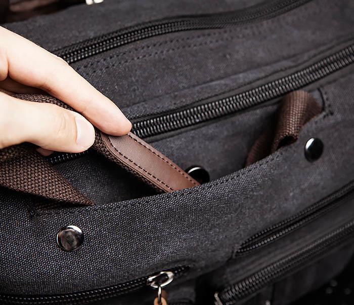 BAG475-1 Мужская сумка рюкзак «трансформер» из ткани фото 11