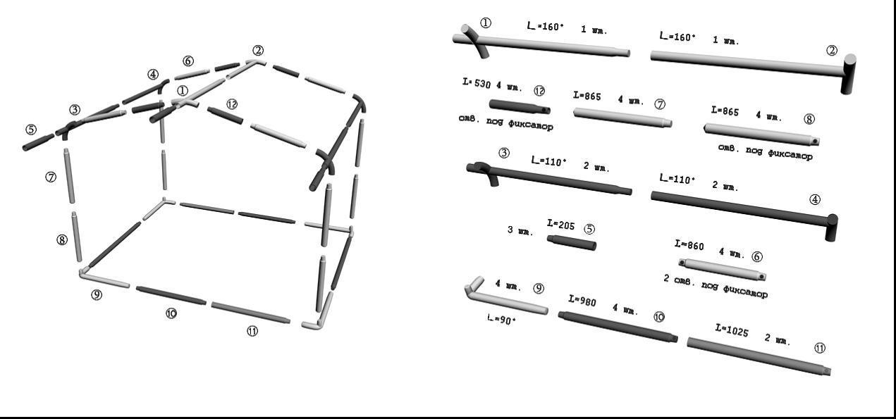Схема сборки торговой палатки Митек Домик 3,0х2,0 Ø 25 м