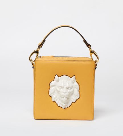 Квадратная сумка из кожи Square Lion Mustard