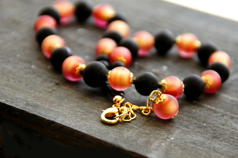 Ожерелье Domino коралловое матовое