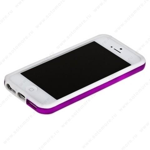 Бампер для iPhone SE/ 5s/ 5C/ 5 белый с фиолетовой полосой