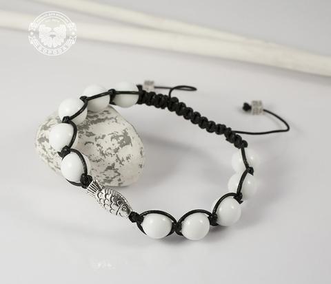 Браслет шамбала ручной работы из белого агата. «Boroda Design»