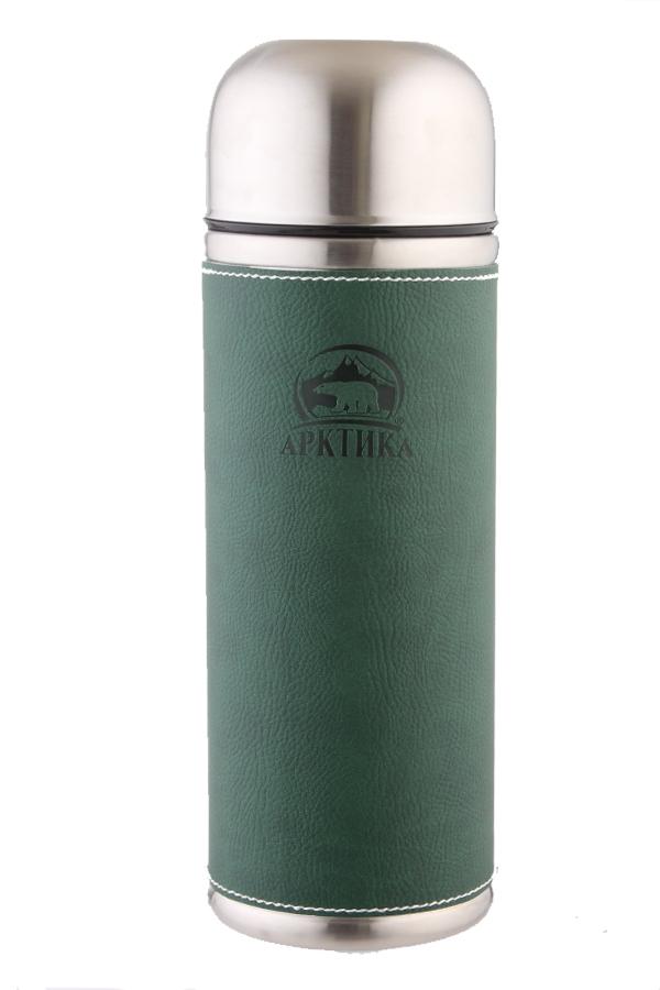 Термос Арктика (0,5 литра) с узким горлом, зеленый, кожаная вставка