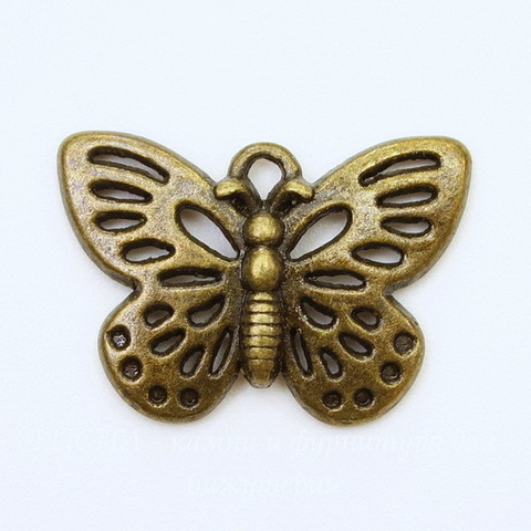 "Подвеска ""Бабочка"" (цвет - античная бронза) 25х18 мм"