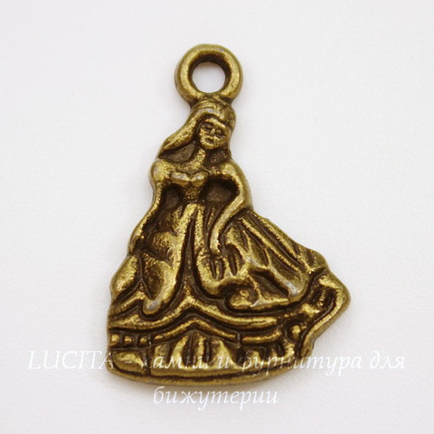 "Подвеска ""Принцесса"" (цвет - античная бронза) 21х14 мм"