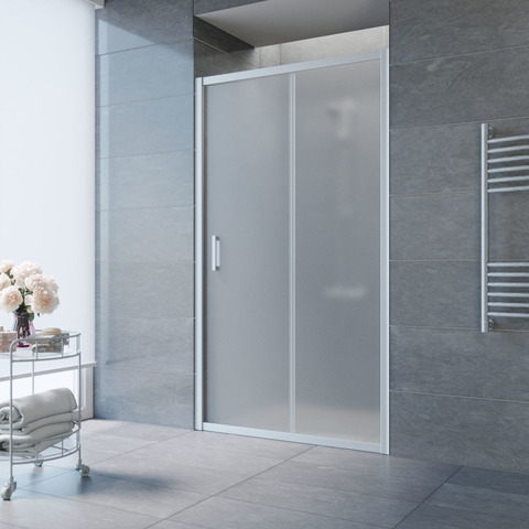 Душевая дверь в нишу Vegas Glass ZP профиль матовый хром, стекло сатин