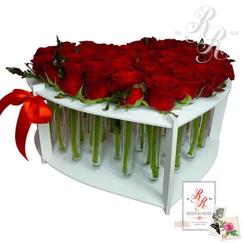 51 красная роза в пробирке (сердце)