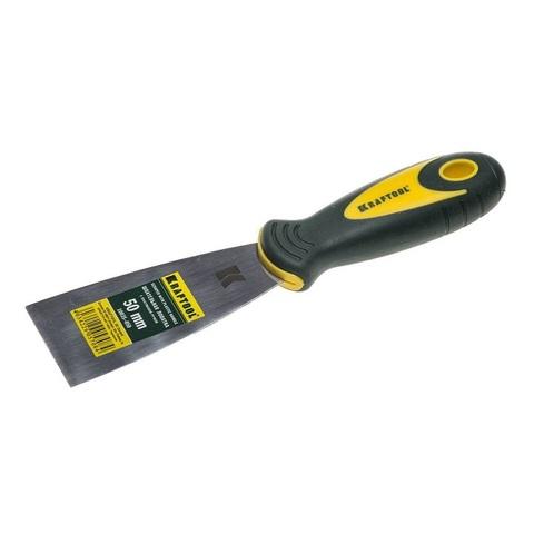 Шпательная лопатка KRAFTOOL с 2-компонент ручк, профилиров нержав полотно, 50мм