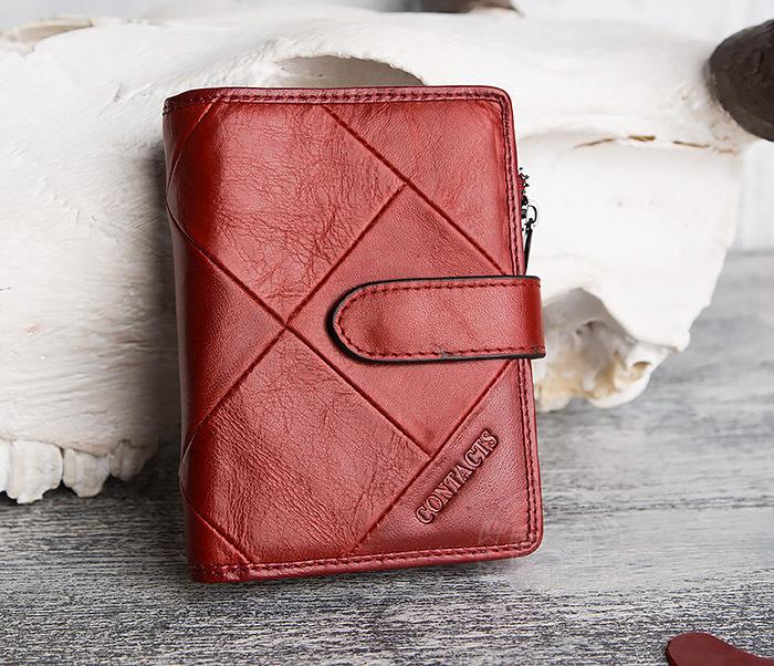 WL287-3 Красный кошелек из натуральной кожи на застежке фото 01