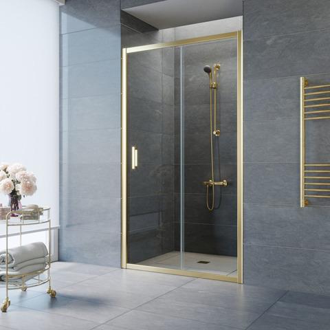 Душевая дверь в нишу Vegas Glass ZP профиль золото, стекло прозрачное