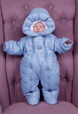 Зимний комбинезон для новорождённых Вьюга голубой