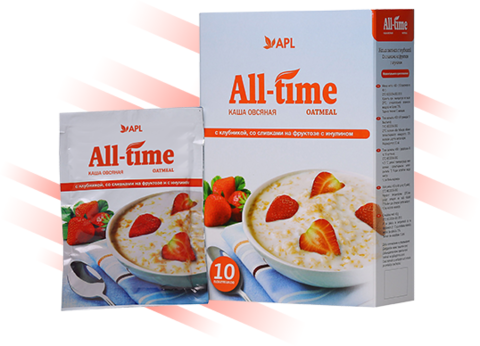 APL. Каша All-Time овсяная с клубникой, сливками и инулином 10 пакетиков по 45 граммов