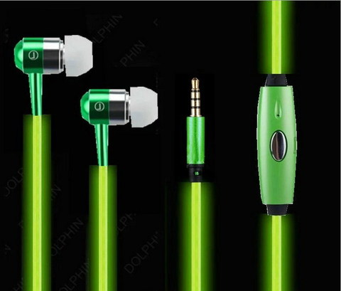 Светящиеся наушники (EL свечение) Зеленые
