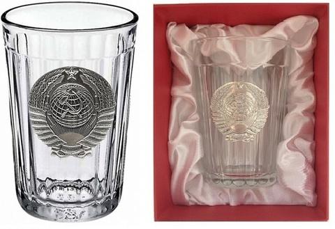 Граненый стакан с гербом СССР «Эпоха застоя»