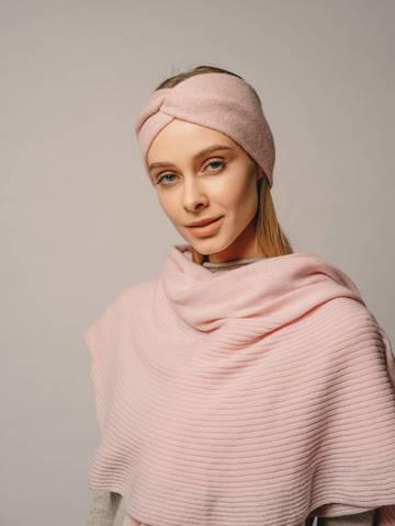 Женская повязка на голову розового цвета из кашемира - фото 4