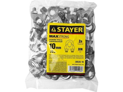 Зажим троса DIN 741, оцинкованный, 10мм, 25 шт, STAYER Master 30535-10