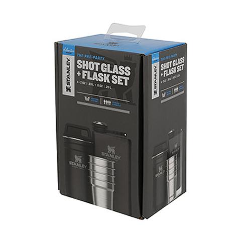 Набор подарочный Stanley Adventure (фляга 0,23 л+стопки 4 шт по 59 мл+футляр), черный