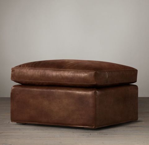 Belgian Track Arm Leather Ottoman