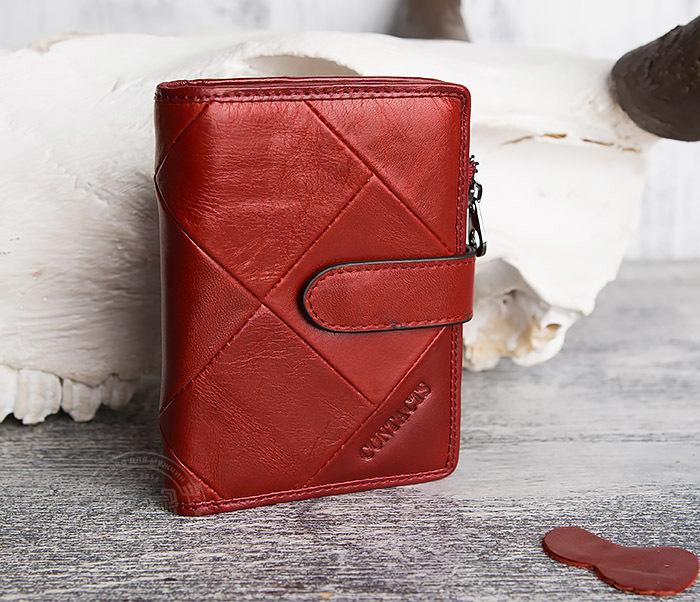 WL287-3 Красный кошелек из натуральной кожи на застежке фото 03