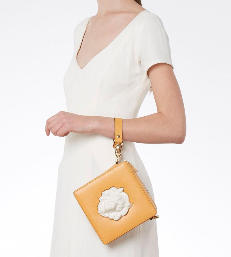 Квадратная сумка из кожи Lion Mustard от ANDRES GALLARDO