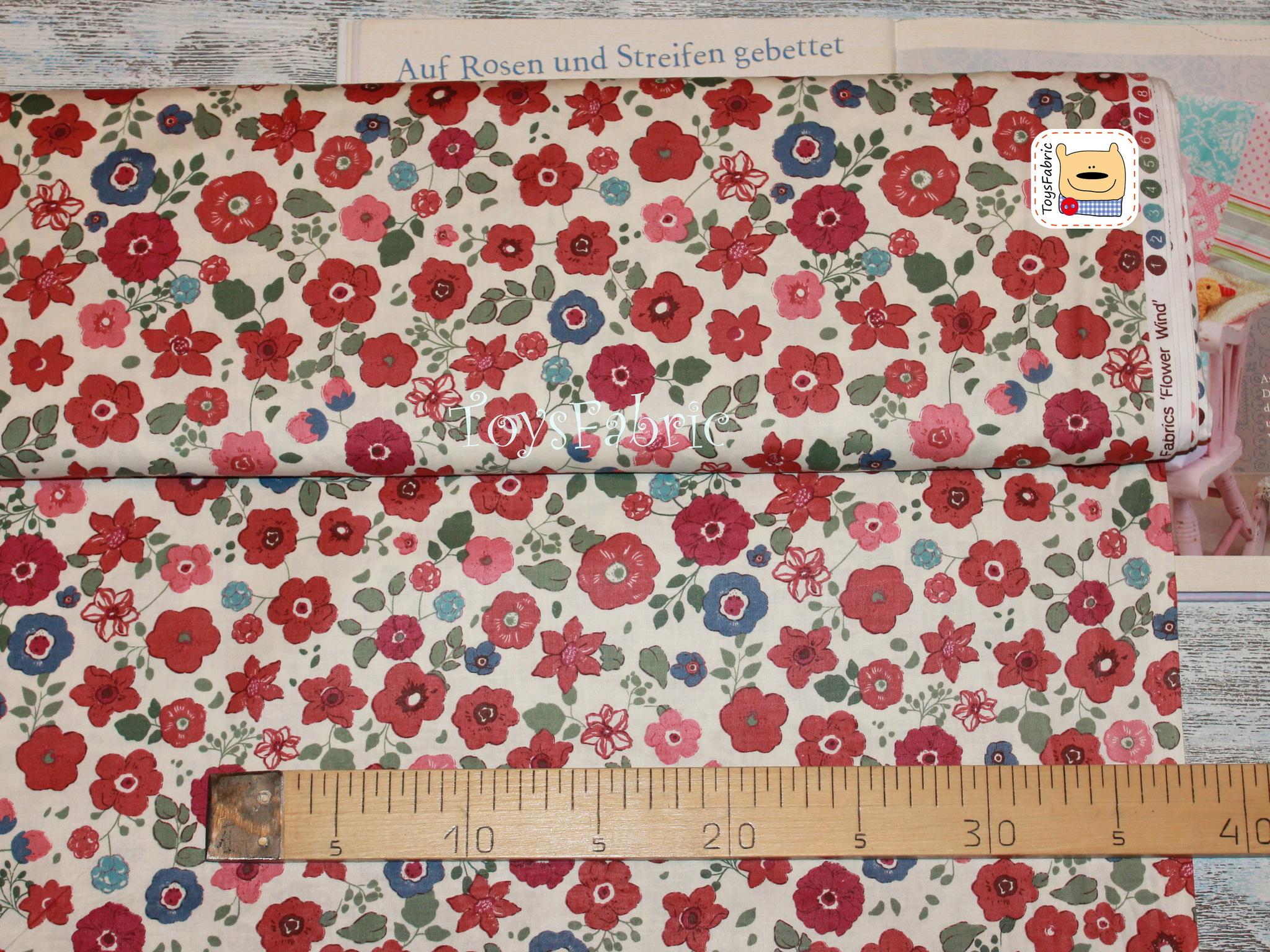 Ткань для пэчворка 20618 (цветы на молочном) 45х55см