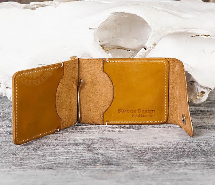 WB165-2 Тонкий кожаный зажим для купюр ручной работы фото 03