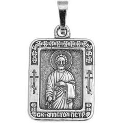 Святой Петр. Нательная икона посеребренная.
