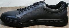 Мужские кожаные туфли кеды Komcero 9K9154-734 Black-Grey