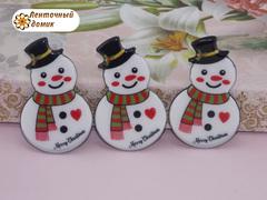 Плоский  декор Снеговик на черном фоне (глянец)