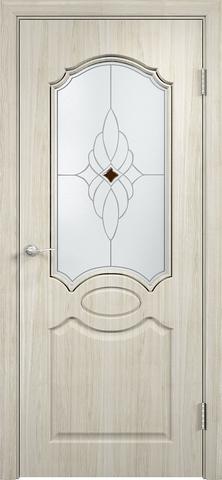 Дверь Верда Афина, стекло Сатинато Ромб, цвет беленый дуб мелинга, остекленная