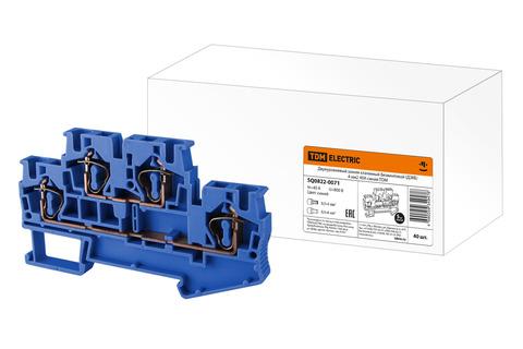 Двухуровневый зажим клеммный безвинтовой (ДЗКБ) 4 мм2 40А синий TDM