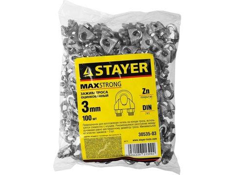 Зажим троса DIN 741, оцинкованный, 3мм, 100 шт, STAYER Master 30535-03