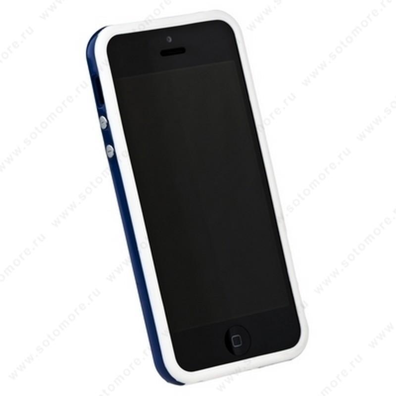 Бампер для iPhone SE/ 5s/ 5C/ 5 белый с синей полосой