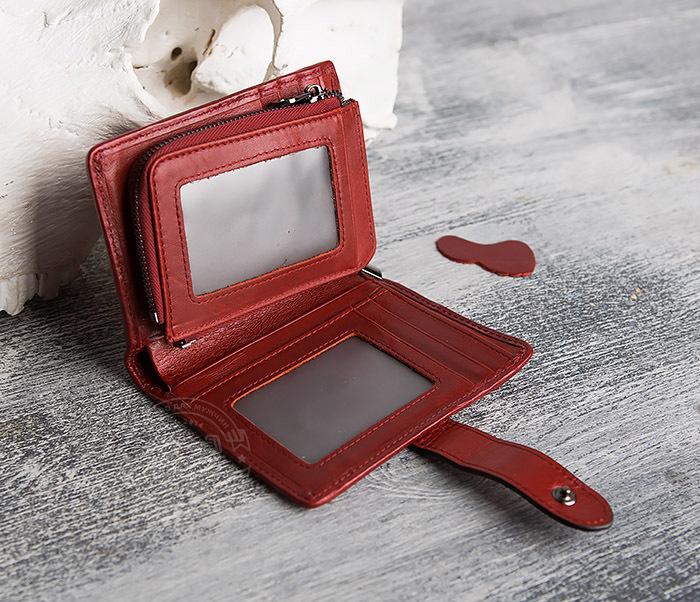 WL287-3 Красный кошелек из натуральной кожи на застежке фото 07